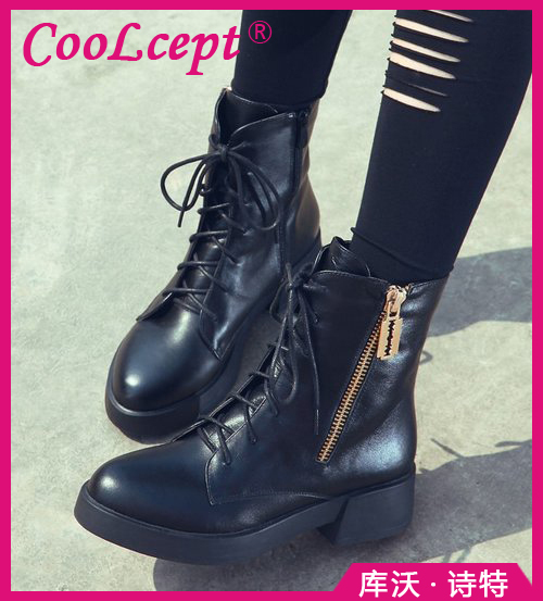 CooLcept Free shipping ankle half short natural real genuine leather boots women snow boot high heel shoes R4910 EUR size 34-40(China (Mainland))