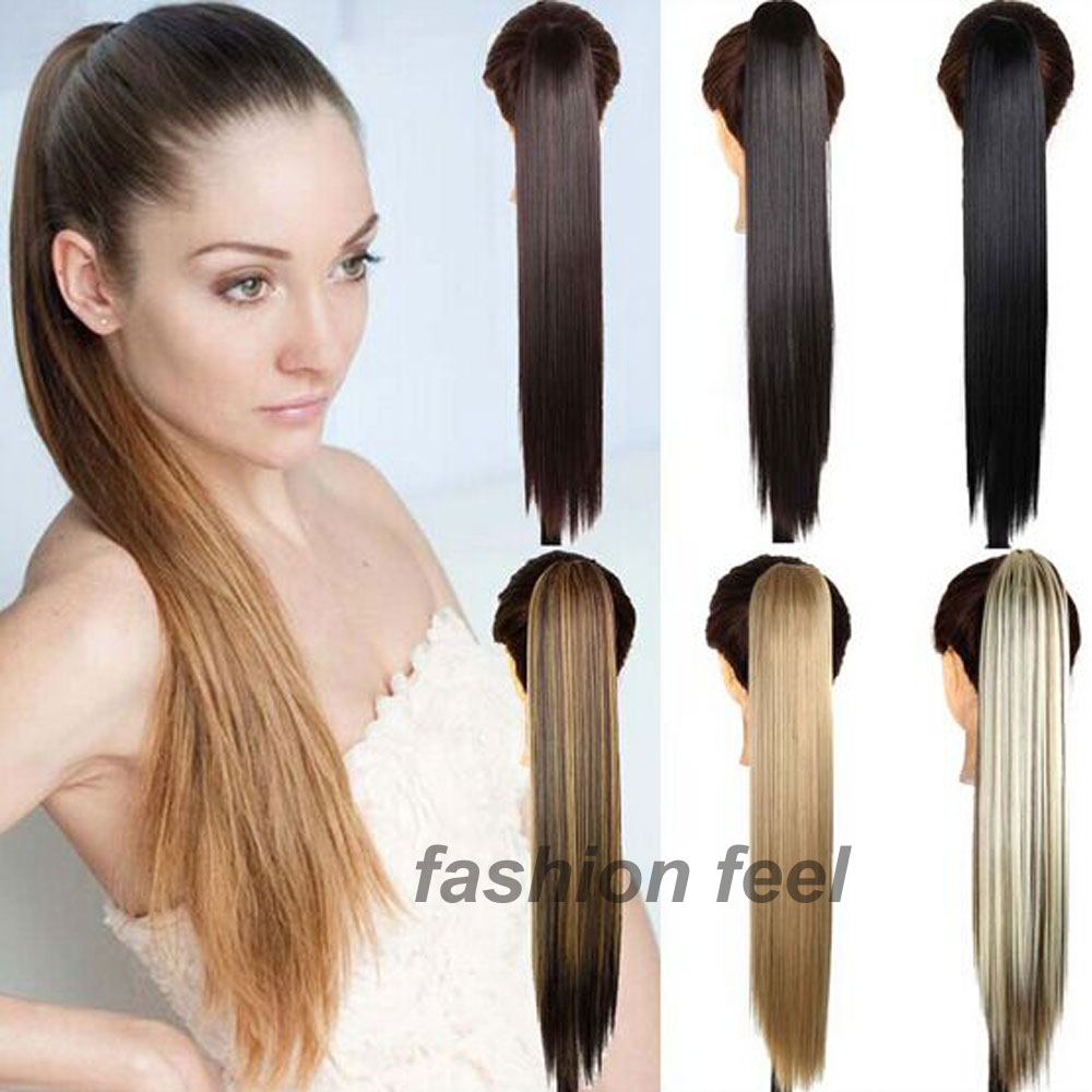 "2015 New Fashoin Long Synthetic Straight Ponytails 24""60CM Clip In Ponytail Hair Extension Hair piece 20 Colors For Beauty Women(China (Mainland))"
