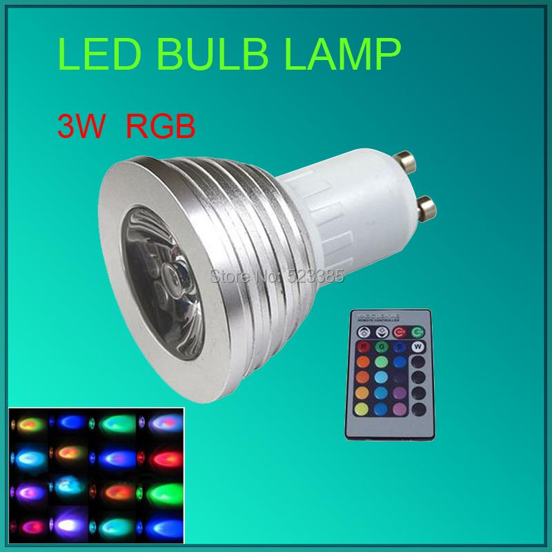 SPOT LIGHT 3W E27 GU10 MR16 E14 LED Bulb Lamp light 16 Color RGB changing IR Remote(China (Mainland))