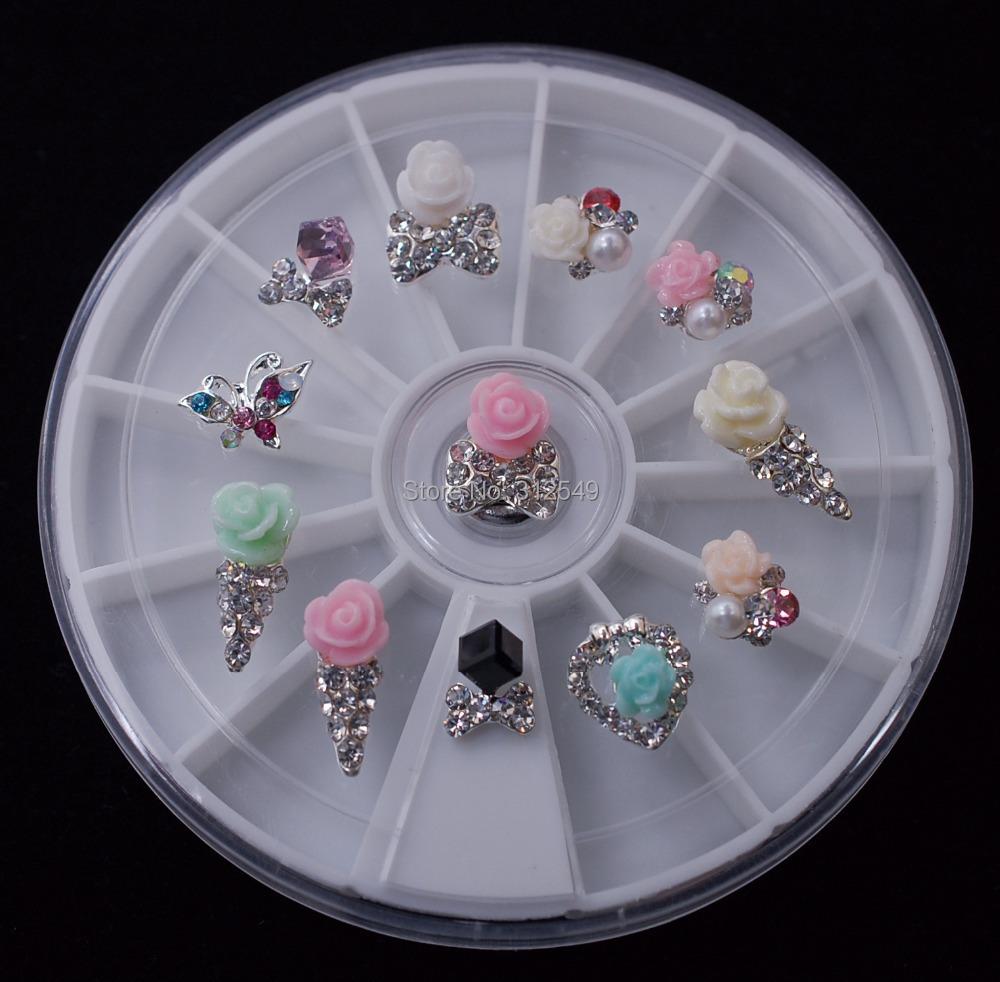 100 колес 3D дизайн ногтей Розы сплав стразы для ногтей маникюр металлическими заклепками DIY стикер украшения ногтей инструменты #NC007x100