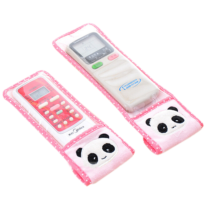 Creative Green Elephant & Pink Panda Plush Remote Control Cover TV Air Conditioning Remote Control Dust Case Retail GI875273(China (Mainland))