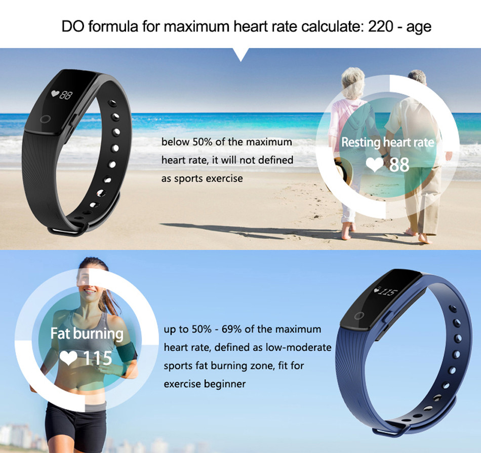 Makibes ID107 Smart Bracelet BT4.0 Heart Rate Monitor Smartband Pulse Sports Fitness Tracker for Android iOS 3