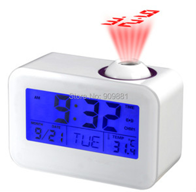 Brand New (Black/White)Sound Controlled Talking Time and Temperature LCD Display Projection Clock Free Shipping(China (Mainland))