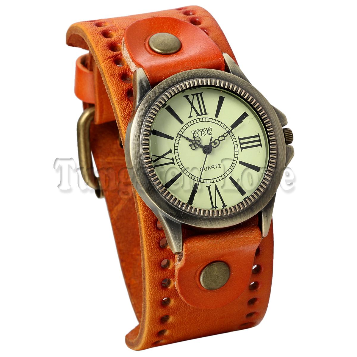 TungstenLove Vintage Leather Bracelet Watch With Antique Brass Bronze Tone Bezel(China (Mainland))
