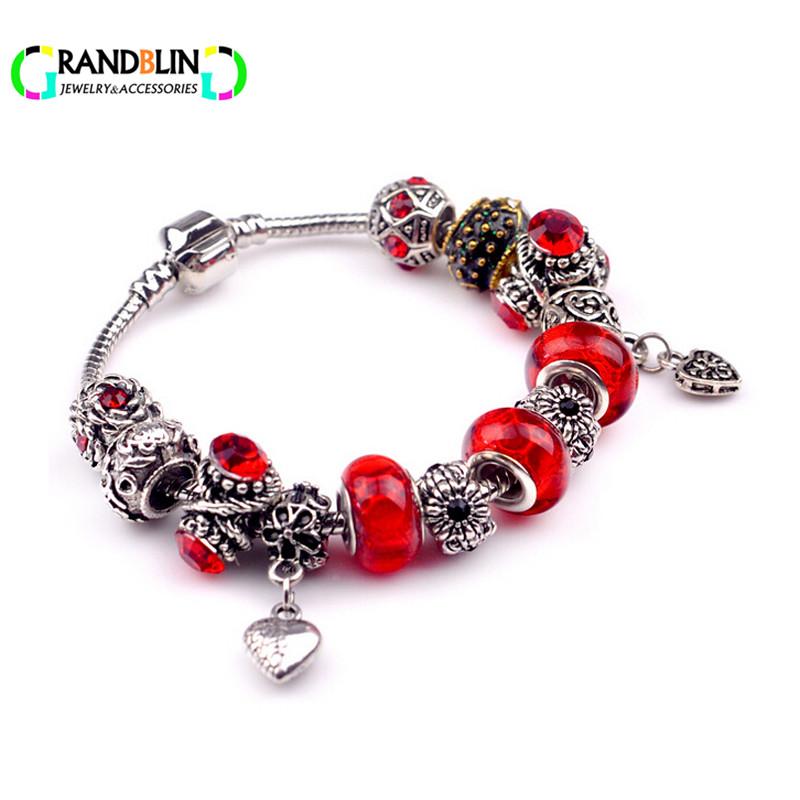 Red Bracelet Heart Love bracelets Summer Fine Jewelry Girl Fashion Europen Bead Charm Bracelet Bangle Gift For Friends(China (Mainland))