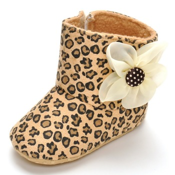 leopard print Big flower chausson enfant Cotton boots Winter Keep warm Boots Velcro baby shoes Glue point soft bottom