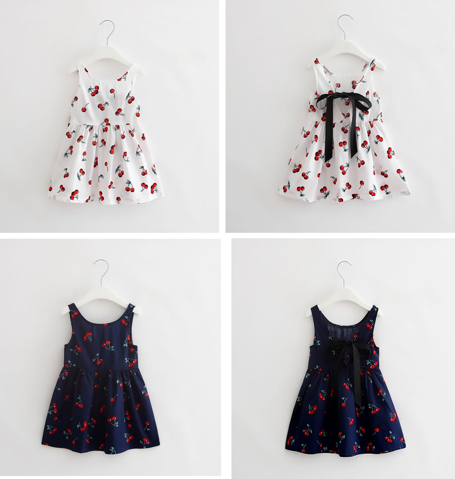 2016 New Fashion Baby Bebe Girl Clothes Newborn Toddler Infant Cherry Dress Summer Girls Cute Dresses Outfit Hot Clothing 6-36M(China (Mainland))