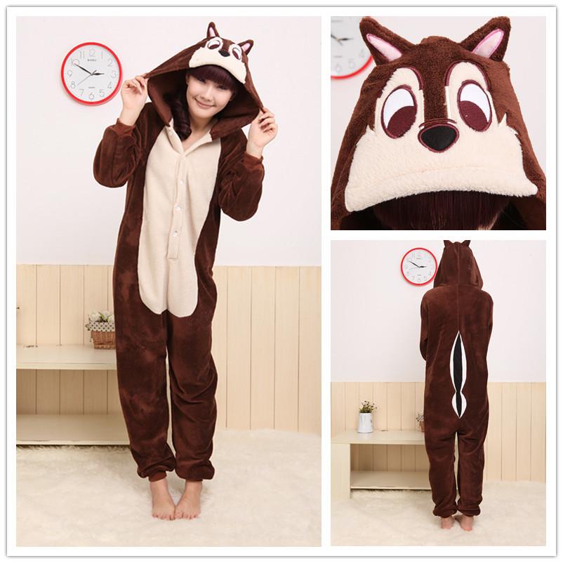 Men/Women Brown Chipmunk Costume Animal Hoodies Plush Pajamas Causal Lounge Sleepwear Free Shipping(China (Mainland))