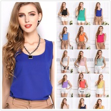 summer style 2015 Fashion Womens Summer Casual Chiffon Vest Tops Tank Sleeveless Shirt Blouse XXXL(China (Mainland))