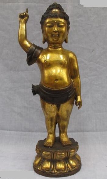 "bi002222 23""Tibet Buddhism Temple Bronze Gilt finger Day Ground Lucky Boy Buddha statuary(China (Mainland))"