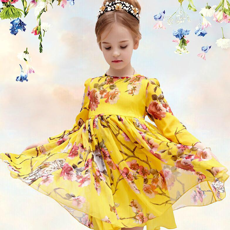 Детские товары   2015 New Girl Chiffon Dress Chiffon Girl Dress Quarter Sleeve Casual Dress Owl animal print Children Dresses Silk Kids Clothes