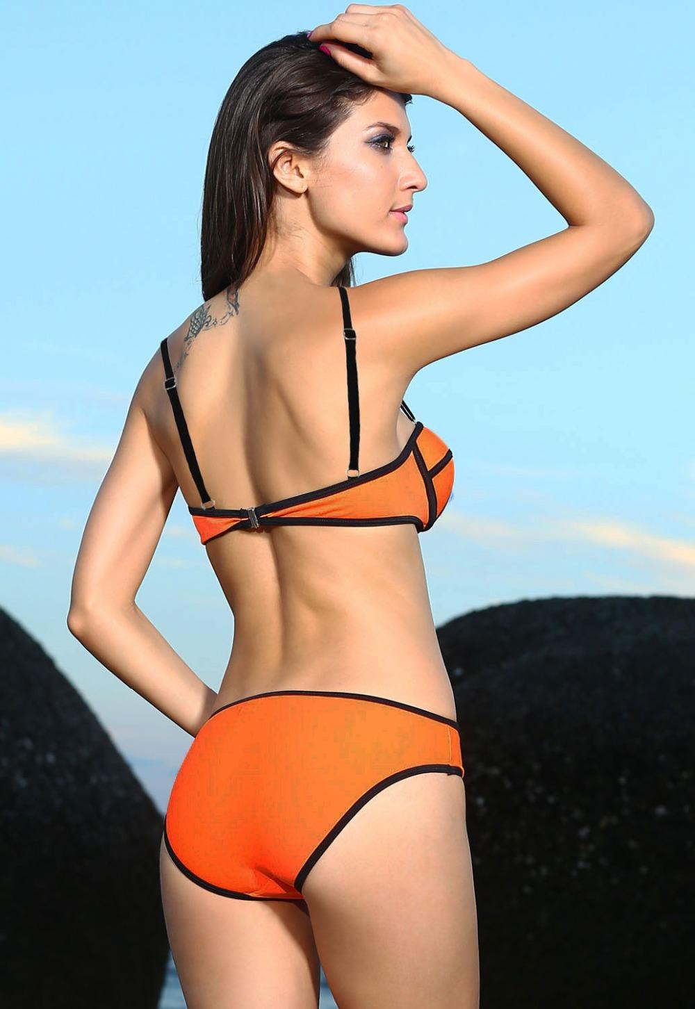 Women Bathing Suit Orange Strappy Swimwear Push Up Low Waist Bikinis 2016 Women s Swimsuit