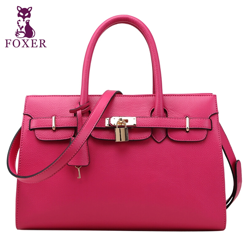 FOXER Famous Brand Women Bag Height Quality Fashion Genuine Leather Handbag Solid Zipper brands Women Shoulder bag Free Shipping<br><br>Aliexpress