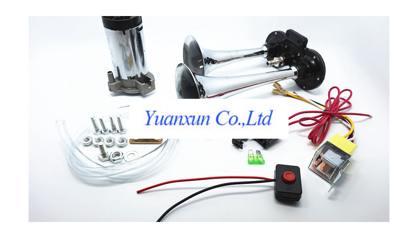 Stainless steel electric car horn siren 12V24V two twin air whistle(China (Mainland))
