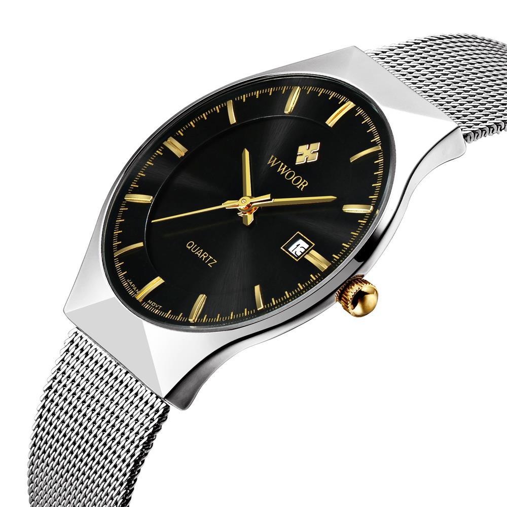5c18b389ea9 ... relogio masculino. WWOOR Mens Watches Top Brand Luxury Men Stainless  Steel Wristwatches Business Quartz Watch Waterproof Clock font