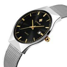 WWOOR Mens Relógios Top Marca de Luxo Homens de Aço Inoxidável relógios de Pulso de Negócios Relógio De Quartzo-Relógio À Prova D' Água relogio masculino