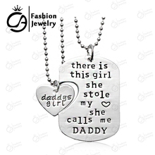There is this girl she Stole my heart she calls me DADDY DAUGHTER Dog Tag Heart Pendant Necklace Father's Gift Jewelry #LN1079D(China (Mainland))