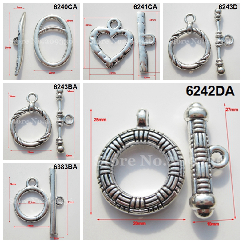 10Sets Antique Silver Jewelry Toggle Clasp Hooks Unique Jewelry Findings Toggle clasps & hooks Connectors For Bracelet(China (Mainland))