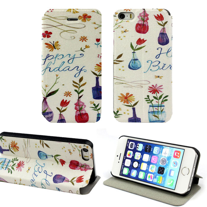 Rainbow Pattern Wallet Flip Leather Hard Case Cover For iphone 5 5G 5S E Wholesale Cell phone protector(China (Mainland))