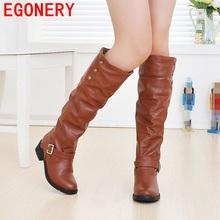 Nuevo 2017 mujeres de la manera caliente de la piel de la nieve del invierno botas de tacón bajo punta redonda negro marrón zapatos mujer rodilla botas de gran tamaño 34-43(China (Mainland))