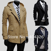 Winter Trench Mens Double-Breasted Silm Fit Long Coat High Quality Fahion New Free shipping(China (Mainland))