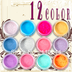 Free shipping 12 Colours nail Acrylic Paerl Powder Dust pigment powder Nail Art Decoration NA297(China (Mainland))