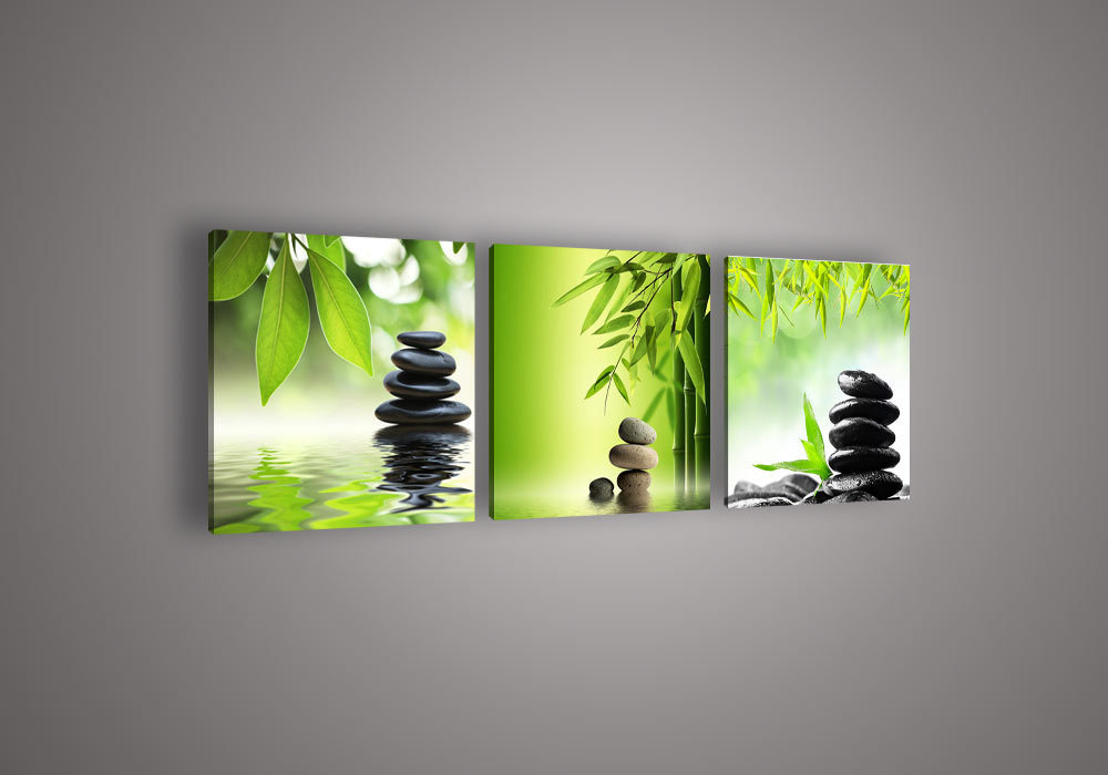 3 piece wall art botanical feng shui green picture oil for How to canvas art