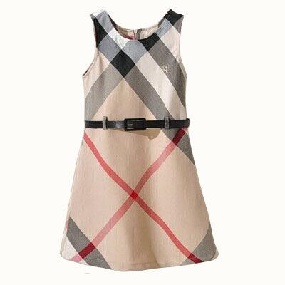 New summer girls dress sleeveless plaid kids clothes england style children clothing with sashes casual babi girl clothing 2T-9T(China (Mainland))