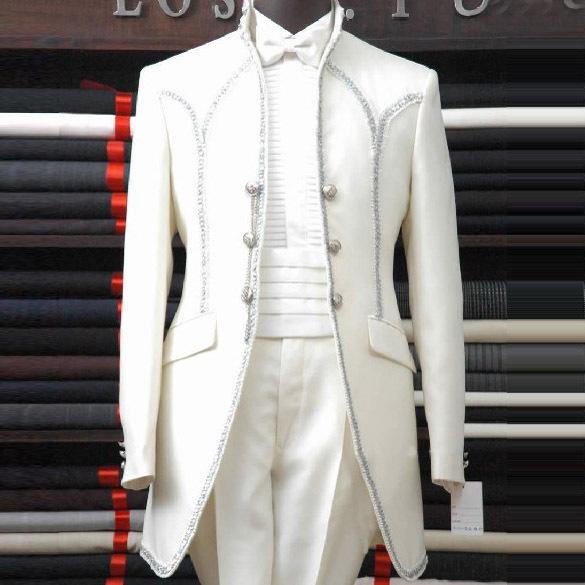 Высокое стильный элегантный дворец белые мужские костюмы свадьбы жених slim-подходят ...