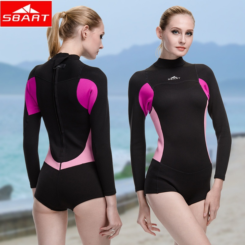 SBART 2016 New Style Neoprene Wetsuit Women 2MM Surfing Wetsuits One Piece Swimming Snorkeling Diving Wet Suit Long Sleeve(China (Mainland))