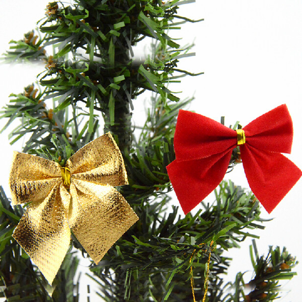 New Arrival 12 pcs Flocking Christmas Tree Bowknots Decoration Baubles Xmas Party Garden Bows Ornament(China (Mainland))
