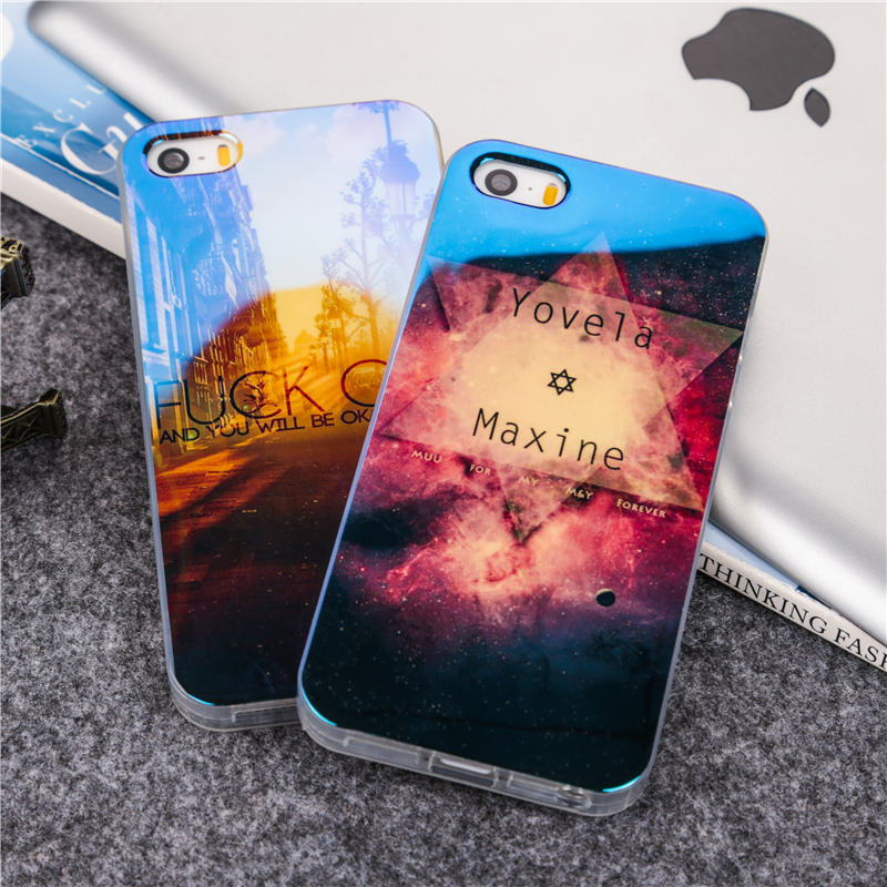 Fashion Lovely Blu-ray TPU Soft protcet cover For iPhone 5 5S SE Cool effects scenery diamond night sky star printing phone case(China (Mainland))