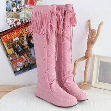 Nueva Llegada Dulce de Colores Rodilla Botas de Invierno de Gran Tamaño 34-43 Borla de La Manera de Las Mujeres de Arranque de Nieve Botas de Invierno Cálido Zapatos V858(China (Mainland))