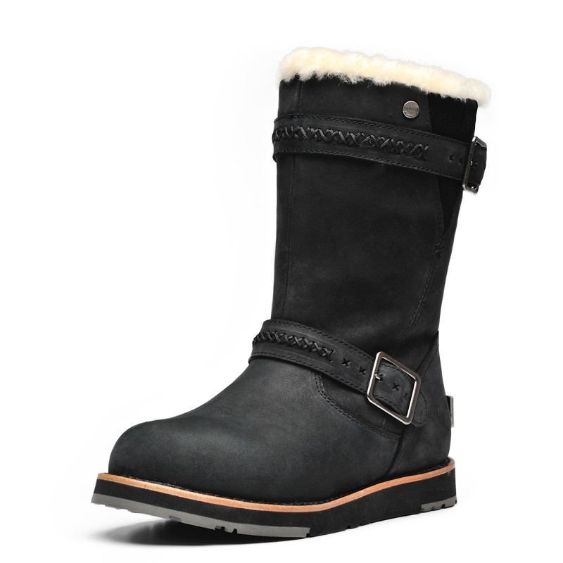 2015 new winter Sheepskin Punk Genuine Leather In the long section locomotive buckle Ms snow boots JSH676<br>