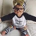 retail 2016 Newborn boy girl fashion clothing set 4pcs English alphabet clothes long sleeve T shirt