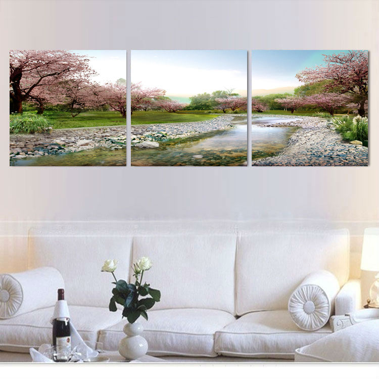 Canvas Painting Pink cherry blossom scenery 3 Piece Art Picture Home Decor On Canvas Modern Painting Free Shipping(China (Mainland))