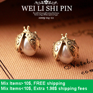Hello Kitty E2113 fahion popular Earring vintage white pearl earring sweet pearl small ladybug stud earring(China (Mainland))