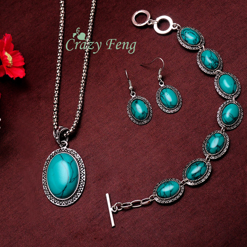 Women's Vintage Retro Silver Plated Oval Sunflower Turquoise Stone Necklace Bracelet Earrings Jewelry Sets Gifts Free shipping(China (Mainland))