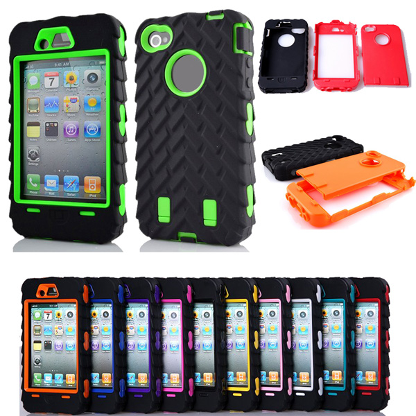 4G Tire Dual Layer Silicone & Hard Plastic Armor Hybrid Protection Plastic Case For Apple iphone 4 4S Mobile Phone Back Cover(China (Mainland))
