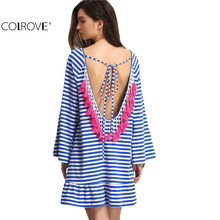 COLROVE Sexy Striped Backless Tassel Straight Summer Style Dresses 2016 New Beach Women Long Sleeve Blue White Shift Dress(China (Mainland))