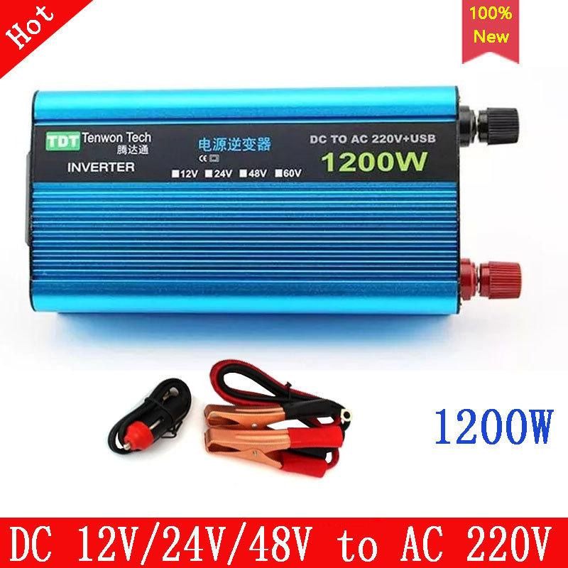 Best dc to ac inverter 1200W universal Power inverter DC 12V/24V/48V/60V to AC 220V with USB best and low price inverter<br><br>Aliexpress