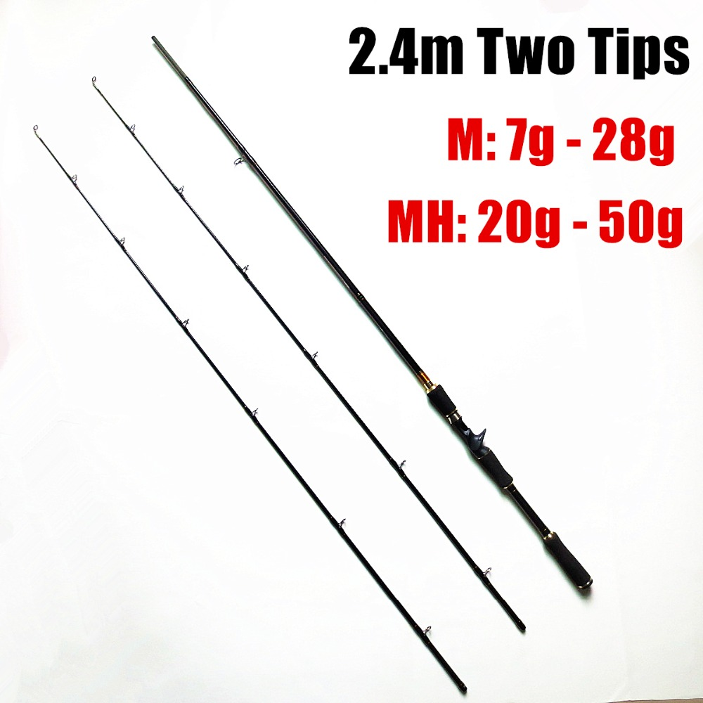 Free shipping 2 tips m mh 8 39 baitcasting rod high for Shipping fishing rods