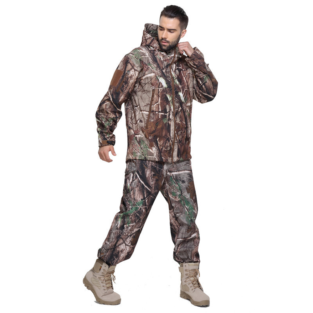 High Quality Warm Windproof Camouflage Pattern Tactical Hunting Clothes For Winter Hunting Suits Jacket+Pants