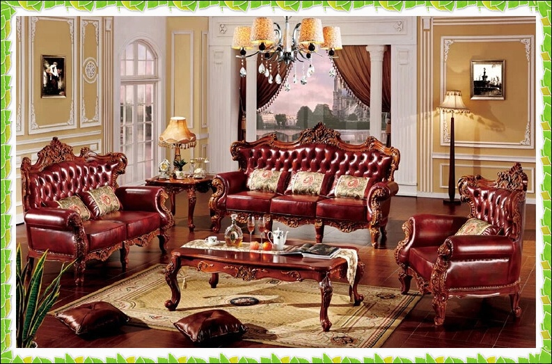 Luxury cow leather set sofa antique noblility living room sofa ...