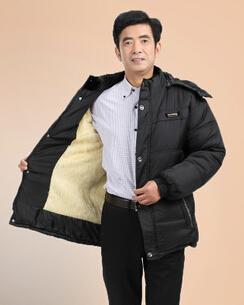 Gray Plush interior warm winter jacket men the elderly Dad down Men's thick fur collar quilted coat plus size xl/xxl/3xl 9.29-27(China (Mainland))