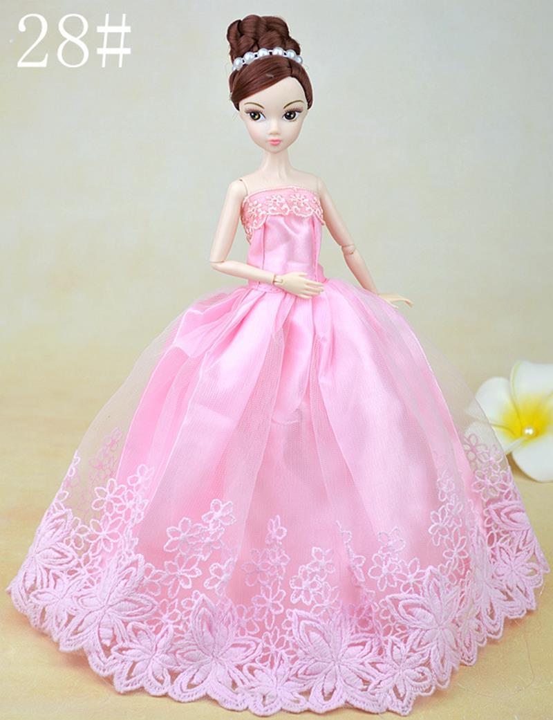 Pink Flower Marriage ceremony Costume For Barbie Dolls Lengthy Night Costume Vestido Robe For 1/6 BJD Doll Garments Birthday Present