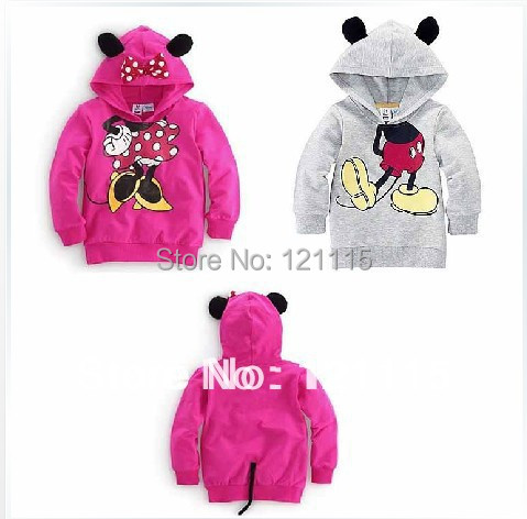 Retail New Arrival Child Boys Girl Hoodie Long Sleeve Hoodies Mickey Minnie mouse cartoon top kids t shirts Free Shipping(China (Mainland))