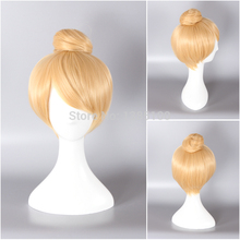 Princess Tinker Bell Tinkerbell Blonde Bun Cosplay Wig Cos Wigs Adult Free Size Full hair Wig +wig cap free shipping