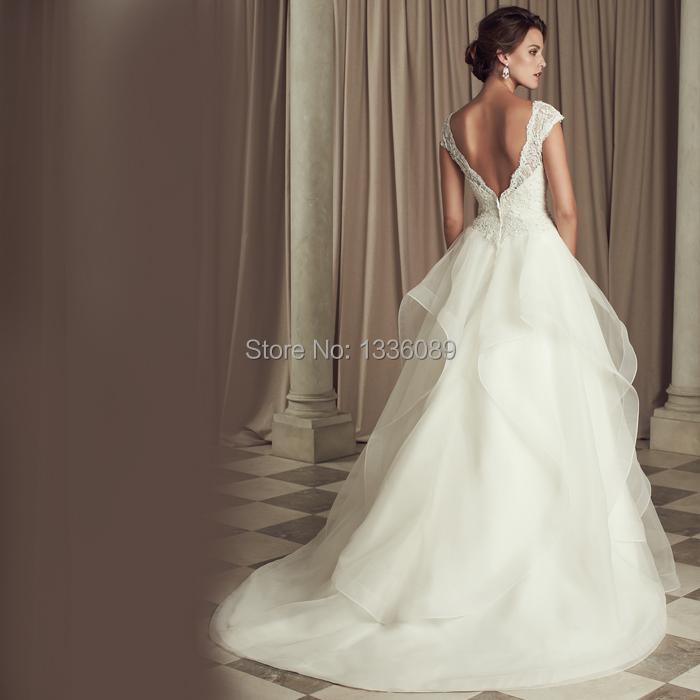 Modest custom v neck applique fashion elegant a ling for Modest elegant wedding dresses