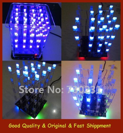 Free Shipping 1Pcs New 4*4*4 3D LED LightSquared White LED Blue Ray LED Cube DIY Kit(China (Mainland))
